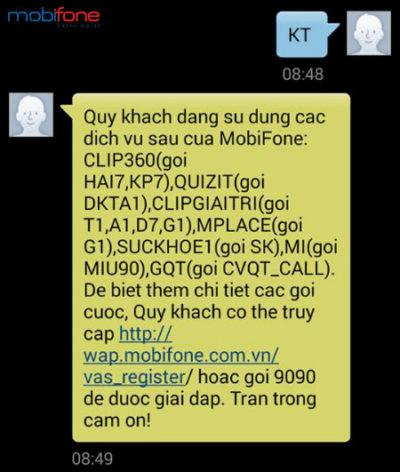 Kiểm tra dịch vụ bằng tin nhắn