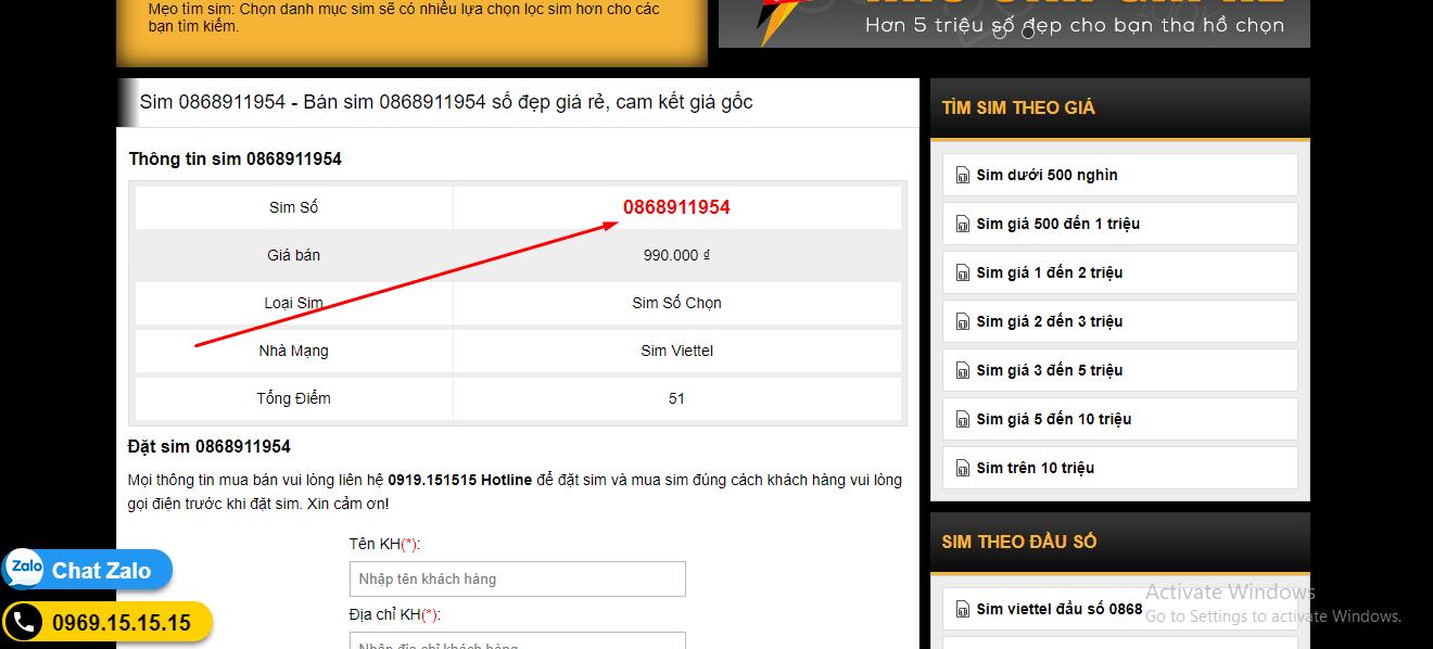Đặt mua sim số nhanh chóng tại website sim3mien