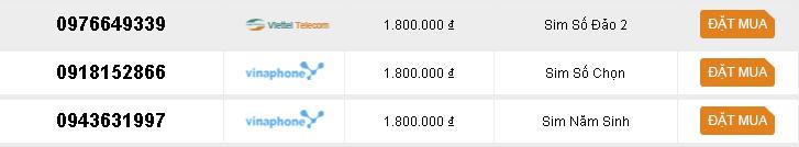 Các sim số đẹp giá dưới 2 triệu của sim3mien